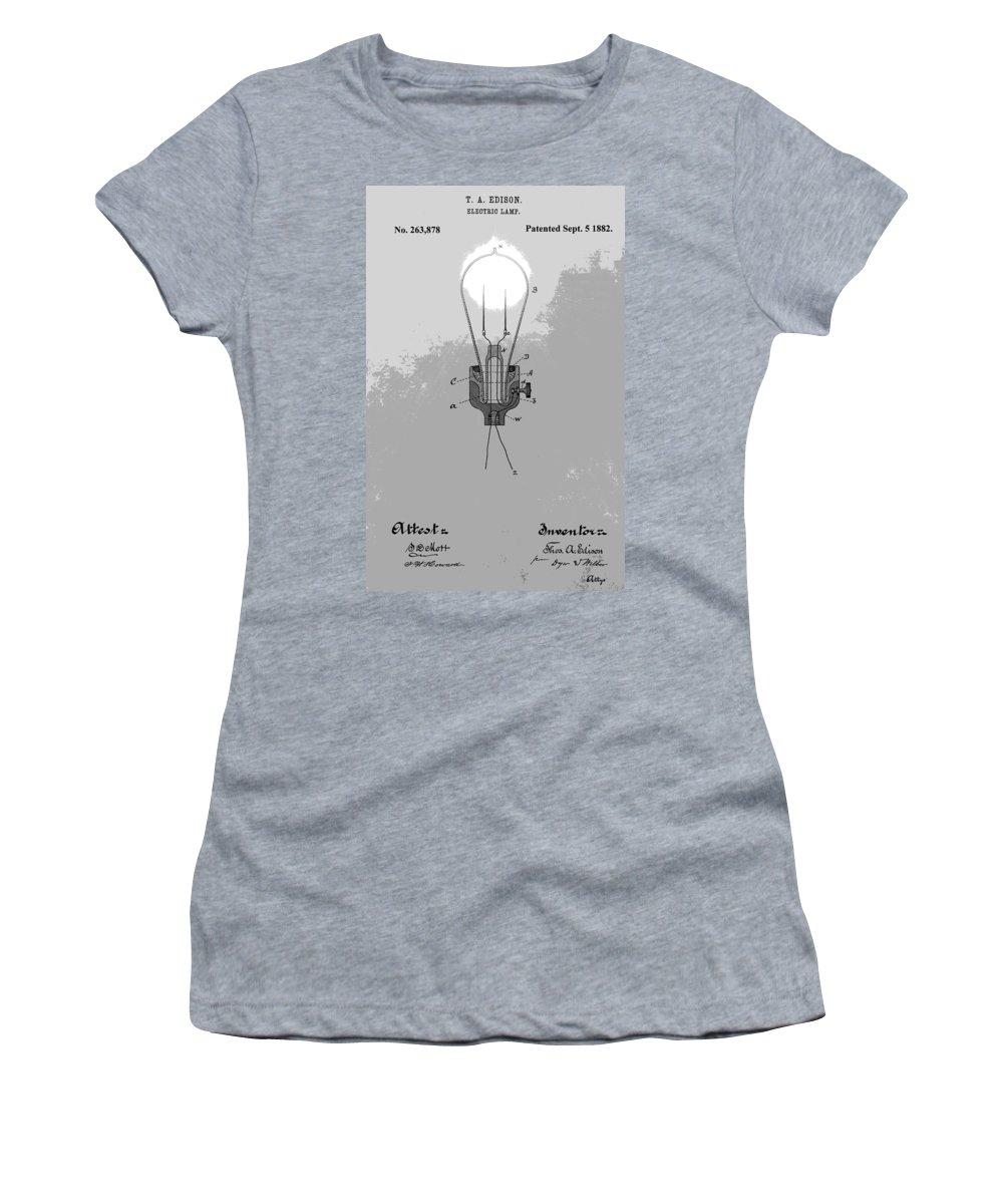 Thomas Edison Electric Lamp Patent Women's T-Shirt featuring the digital art Thomas Edison Patent by Dan Sproul