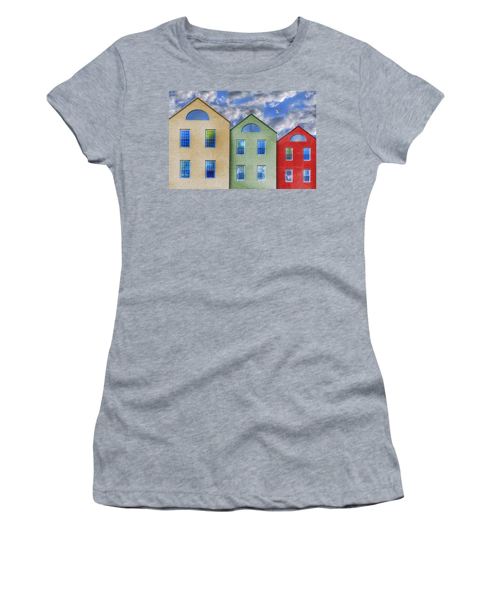 Photography Women's T-Shirt featuring the photograph Three Buildings And A Bird by Paul Wear
