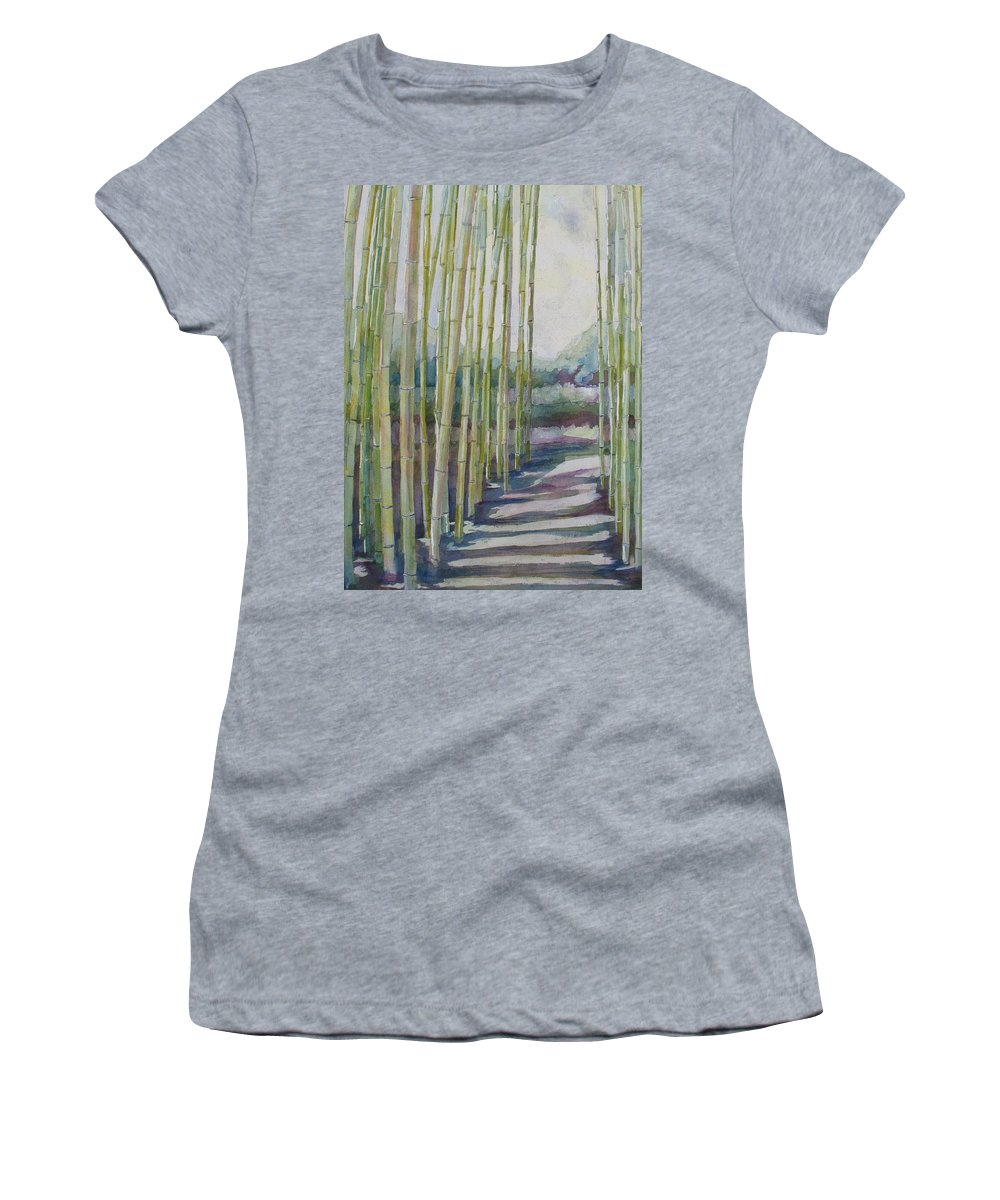 Bamboo Women's T-Shirt (Athletic Fit) featuring the painting Through The Bamboo Grove by Jenny Armitage