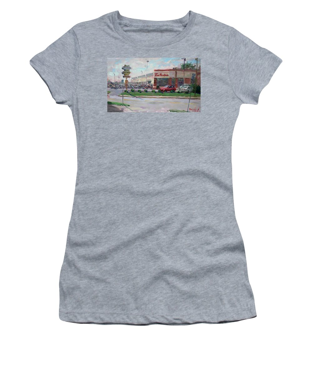 Tim Hortons Women's T-Shirt featuring the painting Tim Hortons By Niagara Falls Blvd Where I Have My Coffee by Ylli Haruni