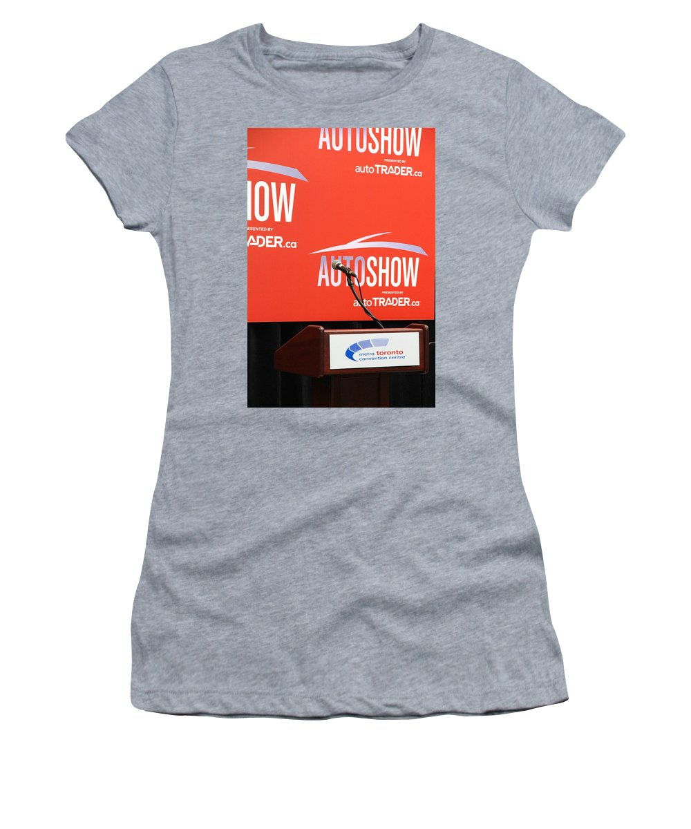 Press Women's T-Shirt featuring the photograph Toronto Autoshow by Valentino Visentini