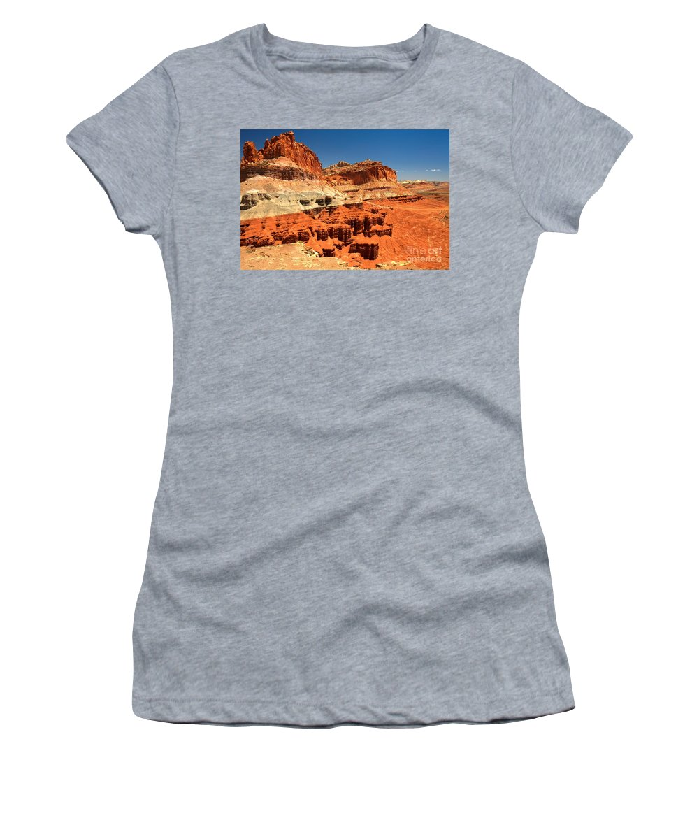 Capitol Reef National Park Women's T-Shirt featuring the photograph Towers Along The Waterpocket by Adam Jewell