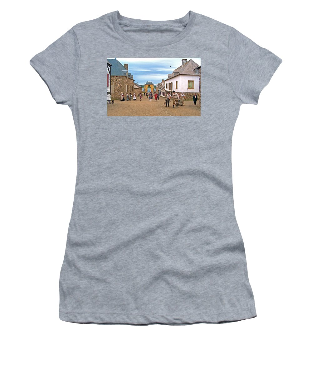Townsfolk On Street To The Sea In Louisbourg Living History Museum Women's T-Shirt featuring the photograph Townsfolk On Street To The Sea In Louisbourg Living History Museum-174 by Ruth Hager