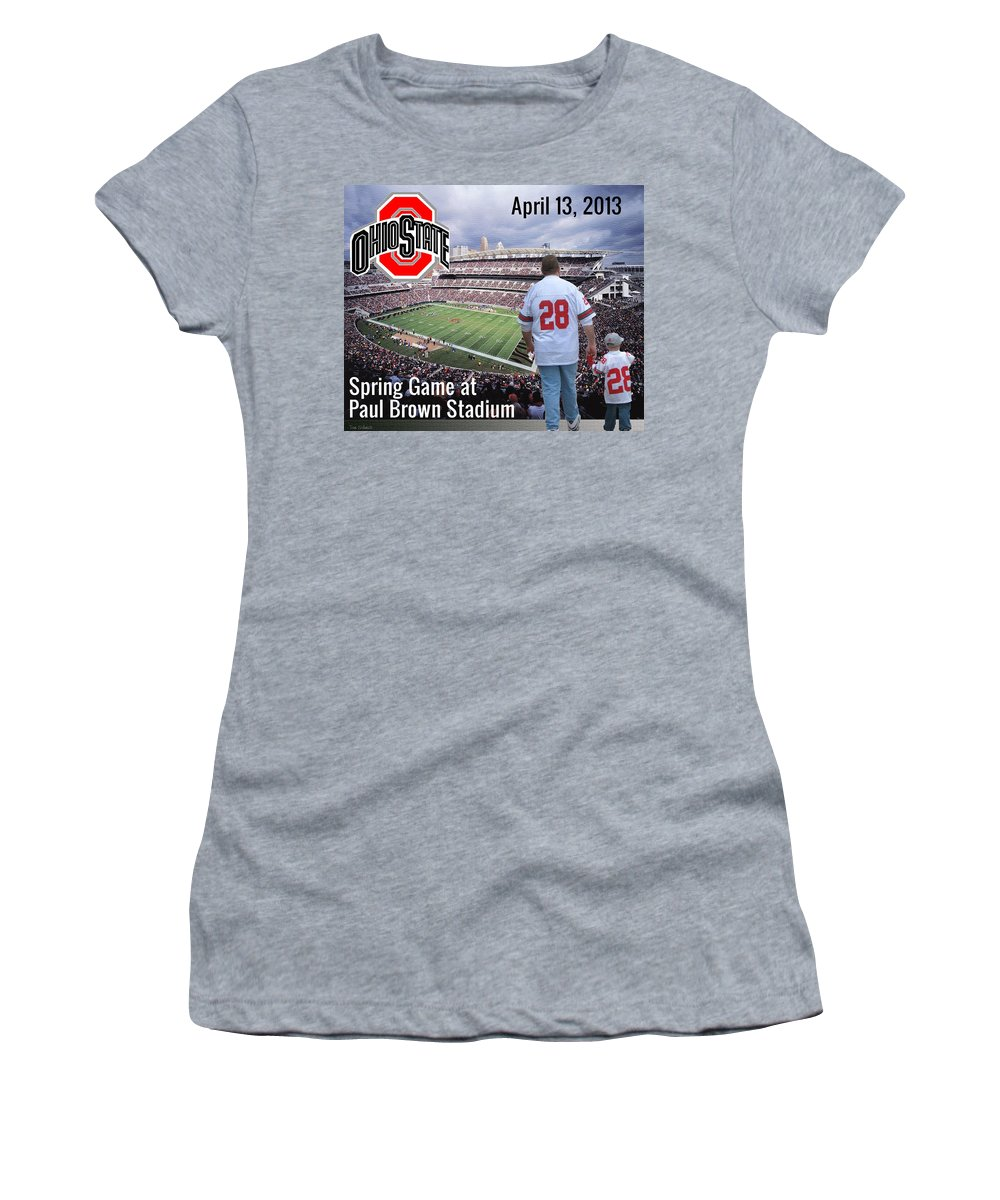 Ohio State Women's T-Shirt (Athletic Fit) featuring the painting Tradition by Tom Schmidt
