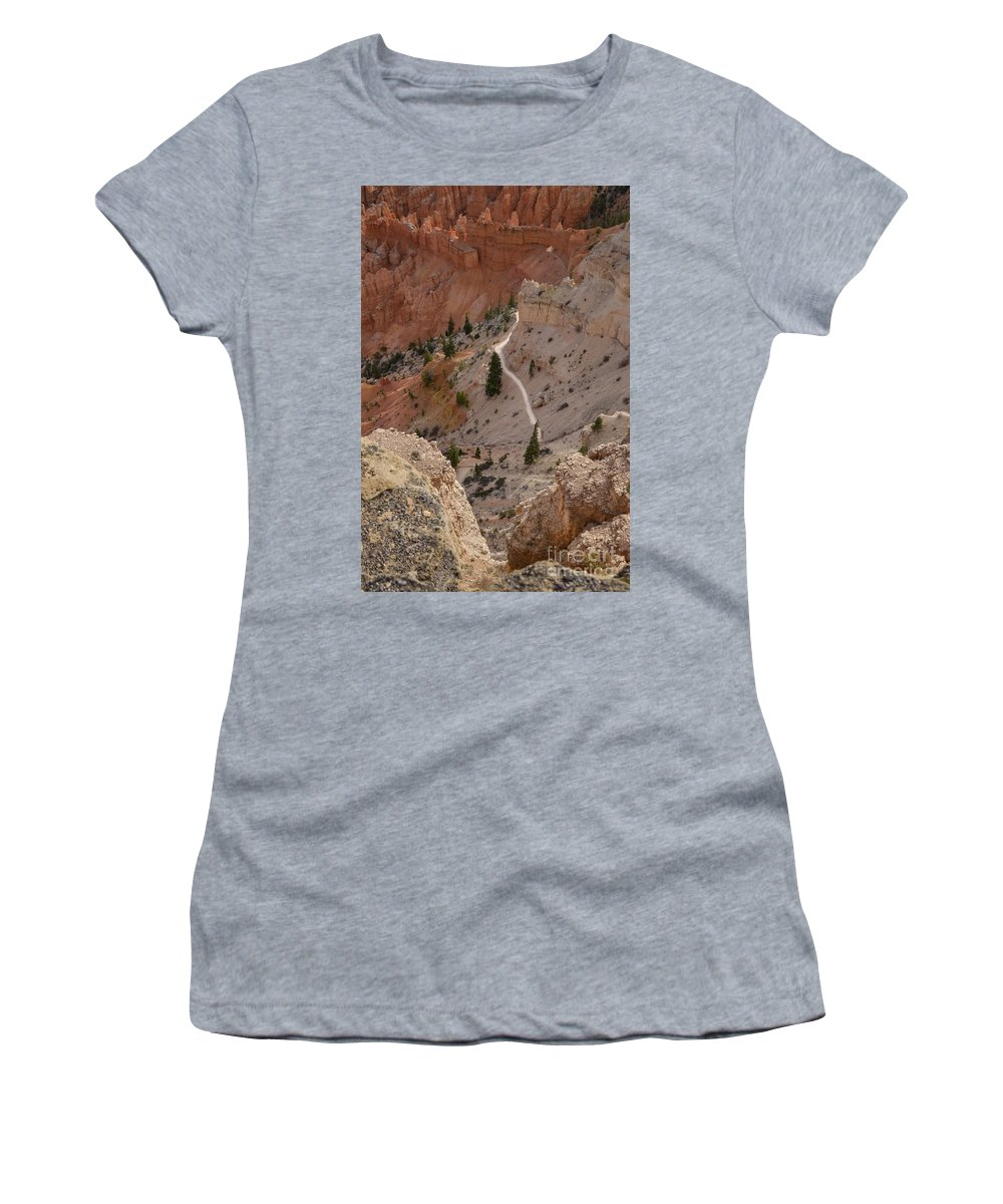 Brown Women's T-Shirt (Athletic Fit) featuring the photograph Trail Into The Past by Rich Priest