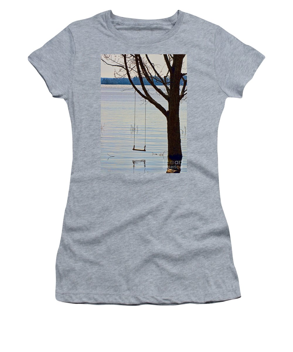 Tree Women's T-Shirt (Athletic Fit) featuring the photograph Tree With A Swing by Les Palenik