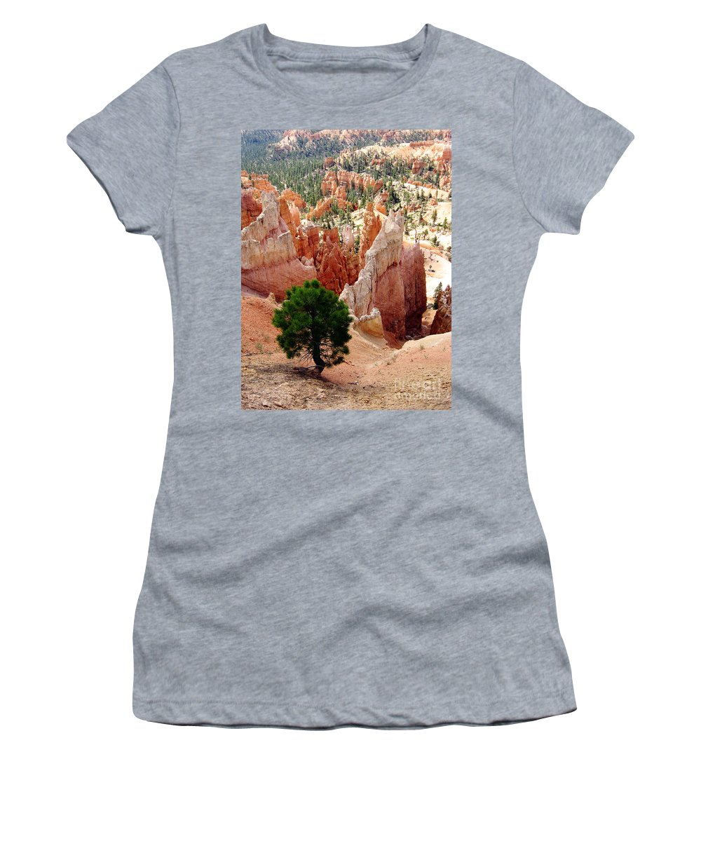 Bryce Canyon Women's T-Shirt (Athletic Fit) featuring the photograph Tree's Eye View by Meghan at FireBonnet Art