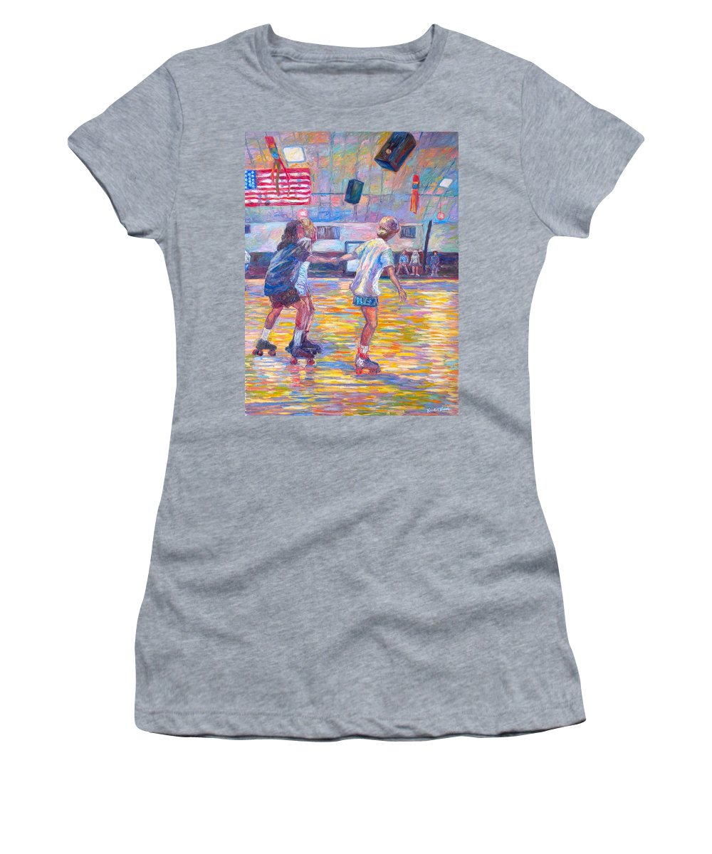 Figure Women's T-Shirt (Athletic Fit) featuring the painting Trios At Dominion Skating Rink by Kendall Kessler
