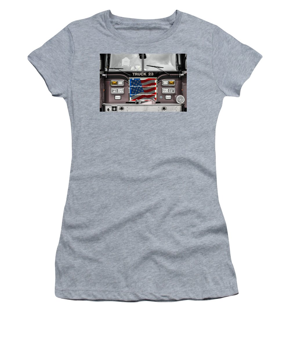 Firetruck Women's T-Shirt (Athletic Fit) featuring the photograph Truck 23 by Ken Kobe