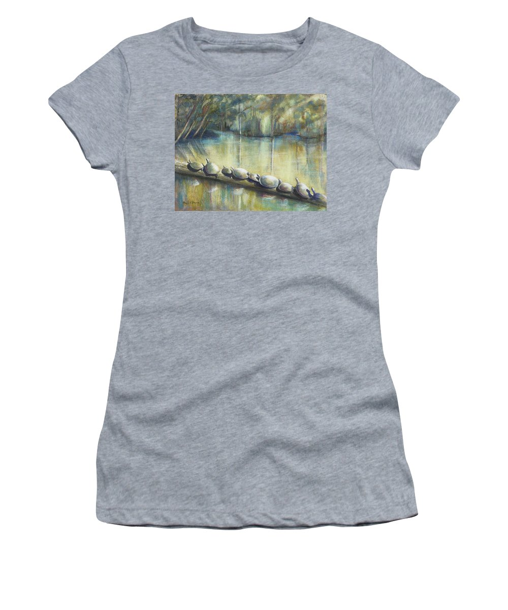 Turtles Women's T-Shirt (Athletic Fit) featuring the painting Turtles On A Log by Phyllis Dunn