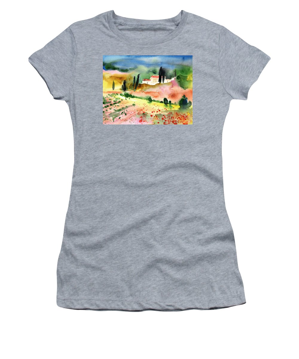 Italy Women's T-Shirt (Athletic Fit) featuring the painting Tuscany Landscape 02 by Miki De Goodaboom