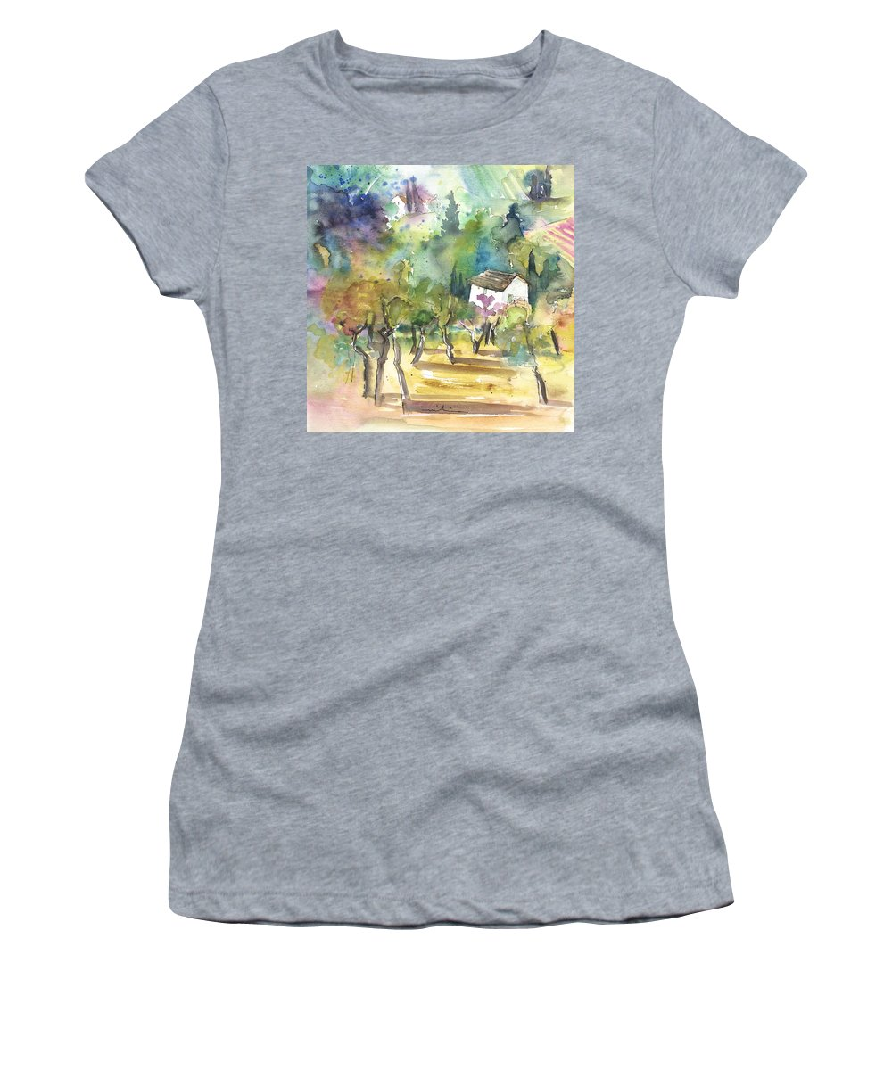 Italy Women's T-Shirt (Athletic Fit) featuring the painting Tuscany Landscape 05 by Miki De Goodaboom