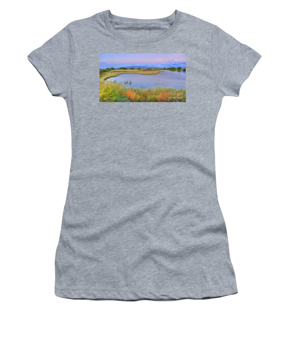 Whitewater Draw Women's T-Shirt featuring the photograph Twilight At Whitewater Draw by Charlene Mitchell