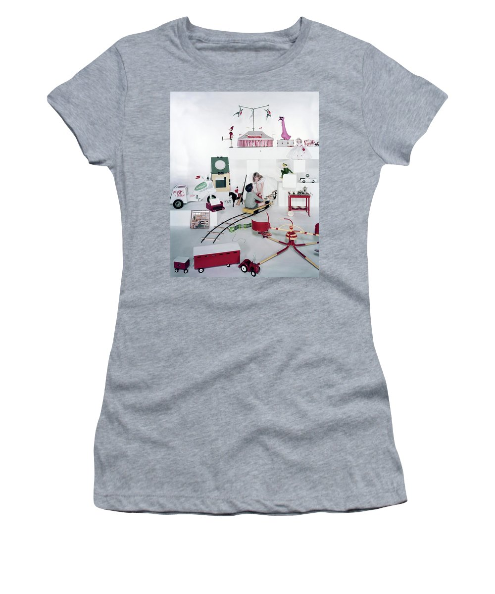 Studio Shot Women's T-Shirt featuring the photograph Two Children Playing With Vintage Toys by Bruce Knight