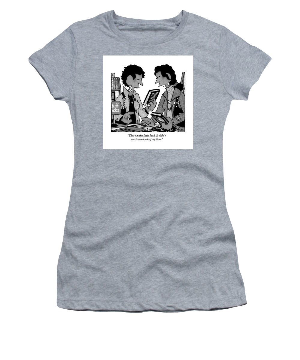 Reading Women's T-Shirt featuring the drawing Two Guys Discuss The Value Of Books At A Library by William Haefeli