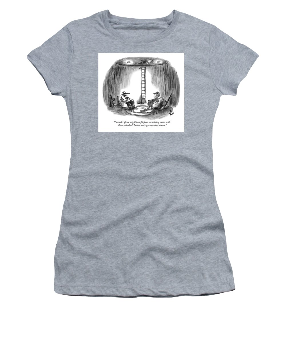 Bunker Women's T-Shirt featuring the drawing Two People Sitting In Chairs In A Bunker by Frank Cotham
