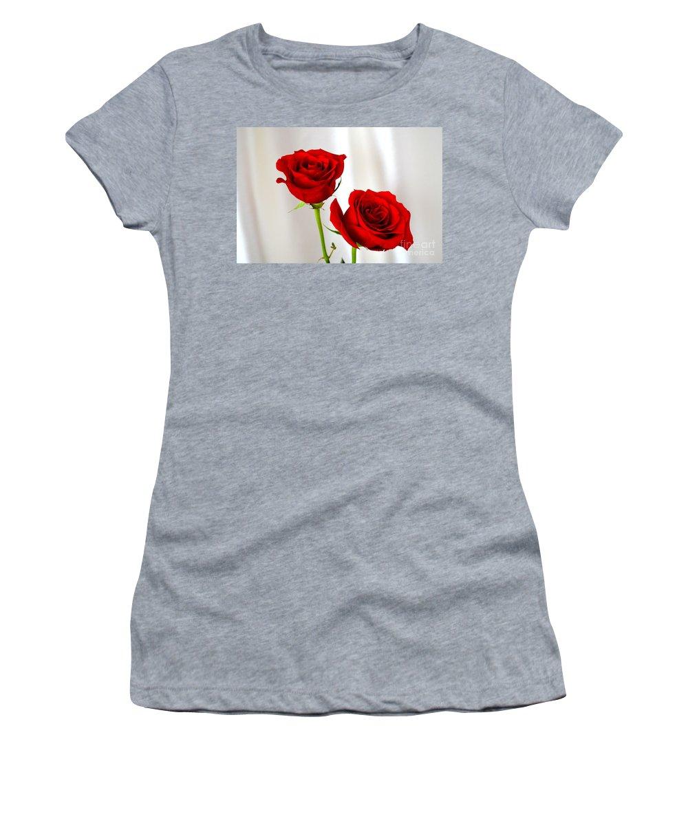 Red Rose Women's T-Shirt featuring the photograph Two Roses by Mary Deal