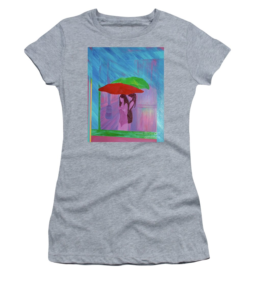Umbrellas Women's T-Shirt (Athletic Fit) featuring the painting Umbrella Girls by First Star Art