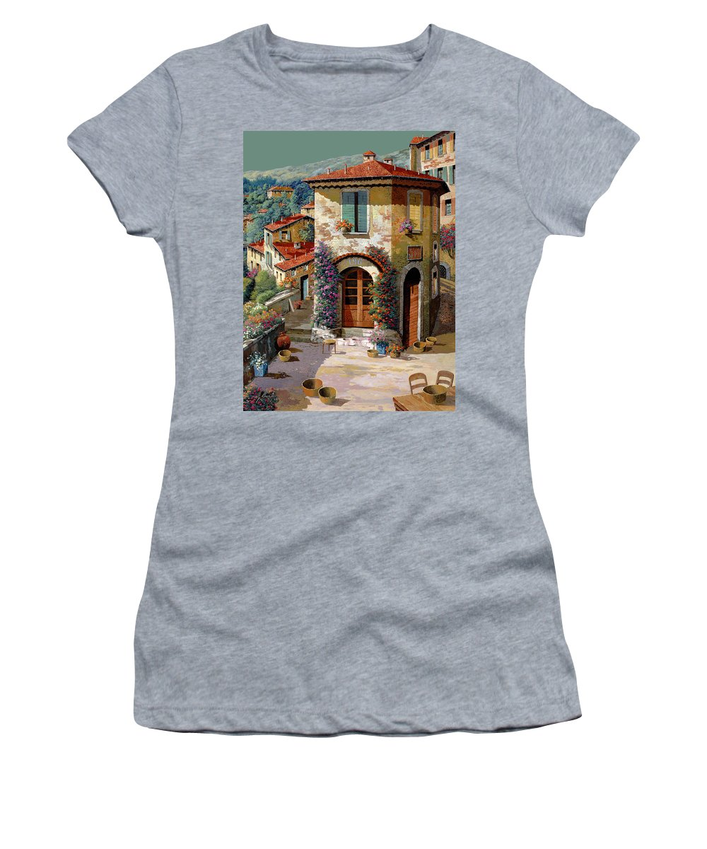 Light Green Sky Women's T-Shirt featuring the painting Un Cielo Verdolino by Guido Borelli