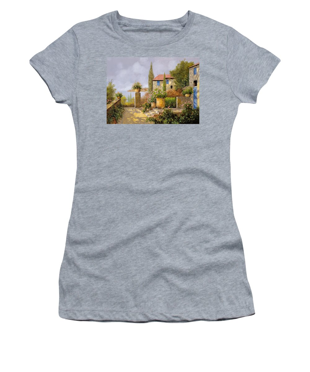 Terrace Women's T-Shirt featuring the painting Uno Sguardo Sul Mare by Guido Borelli