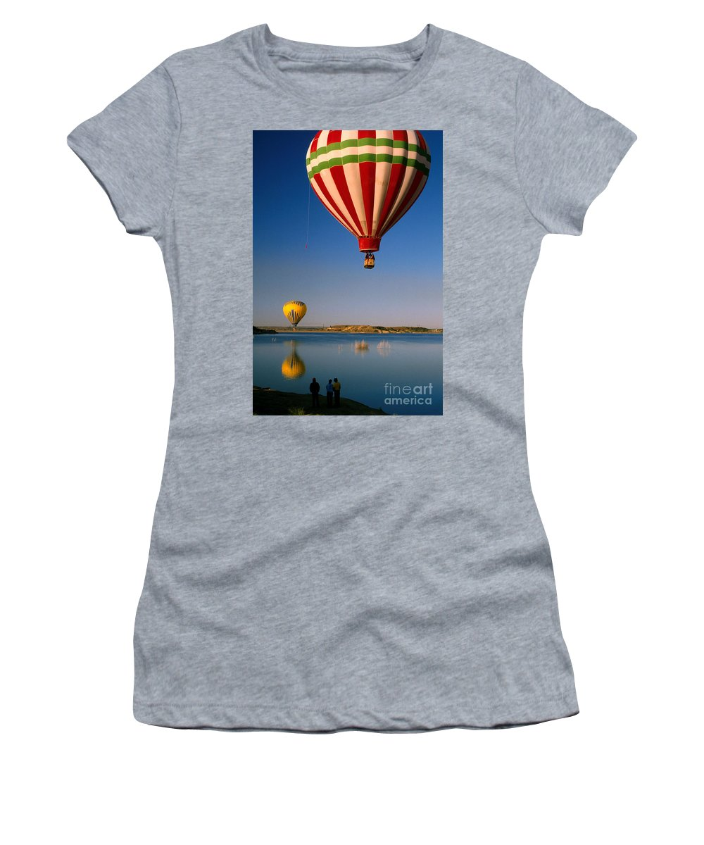 Hot Air Balloon Women's T-Shirt featuring the photograph Up Up And Away by Jerry McElroy