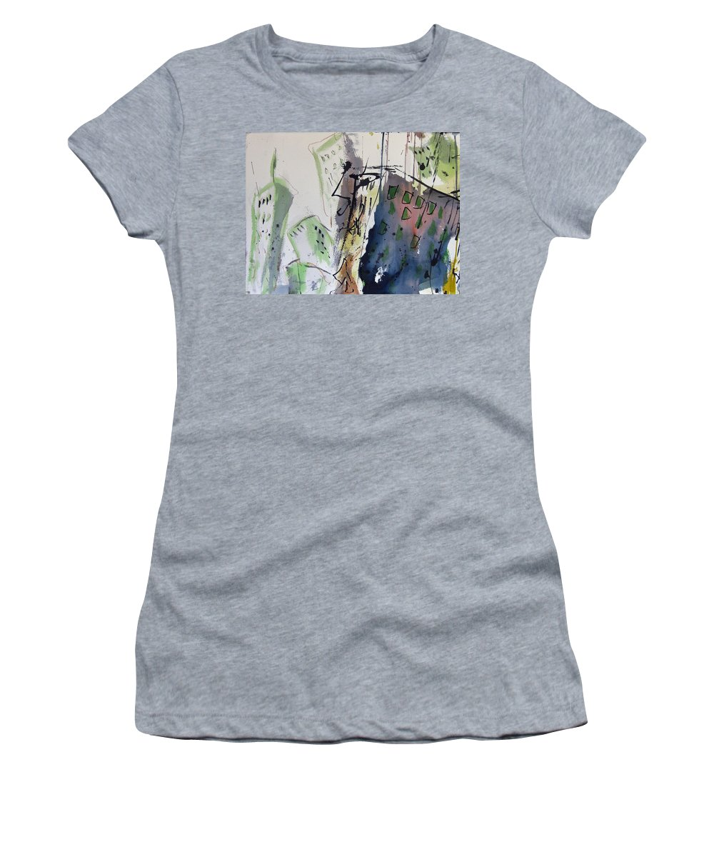City Women's T-Shirt (Athletic Fit) featuring the painting Uptown by Robert Joyner