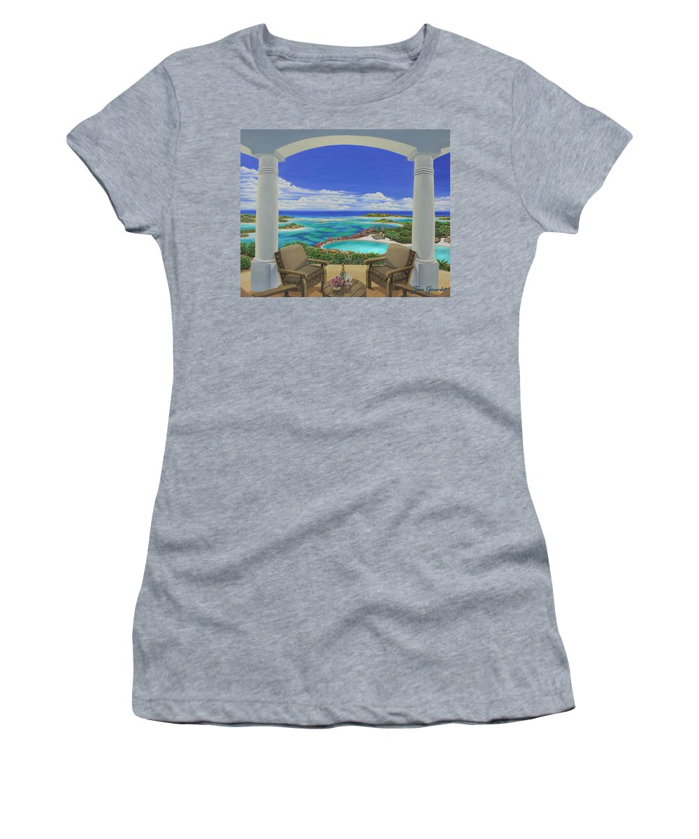 Ocean Women's T-Shirt (Athletic Fit) featuring the painting Vacation View by Jane Girardot
