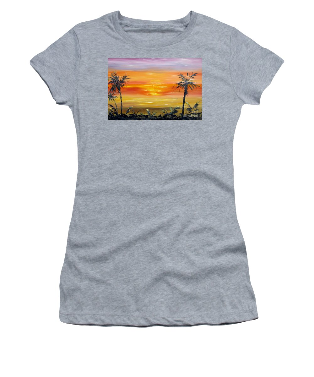 Sky Women's T-Shirt featuring the painting Velvet Sky by Christine Baeza