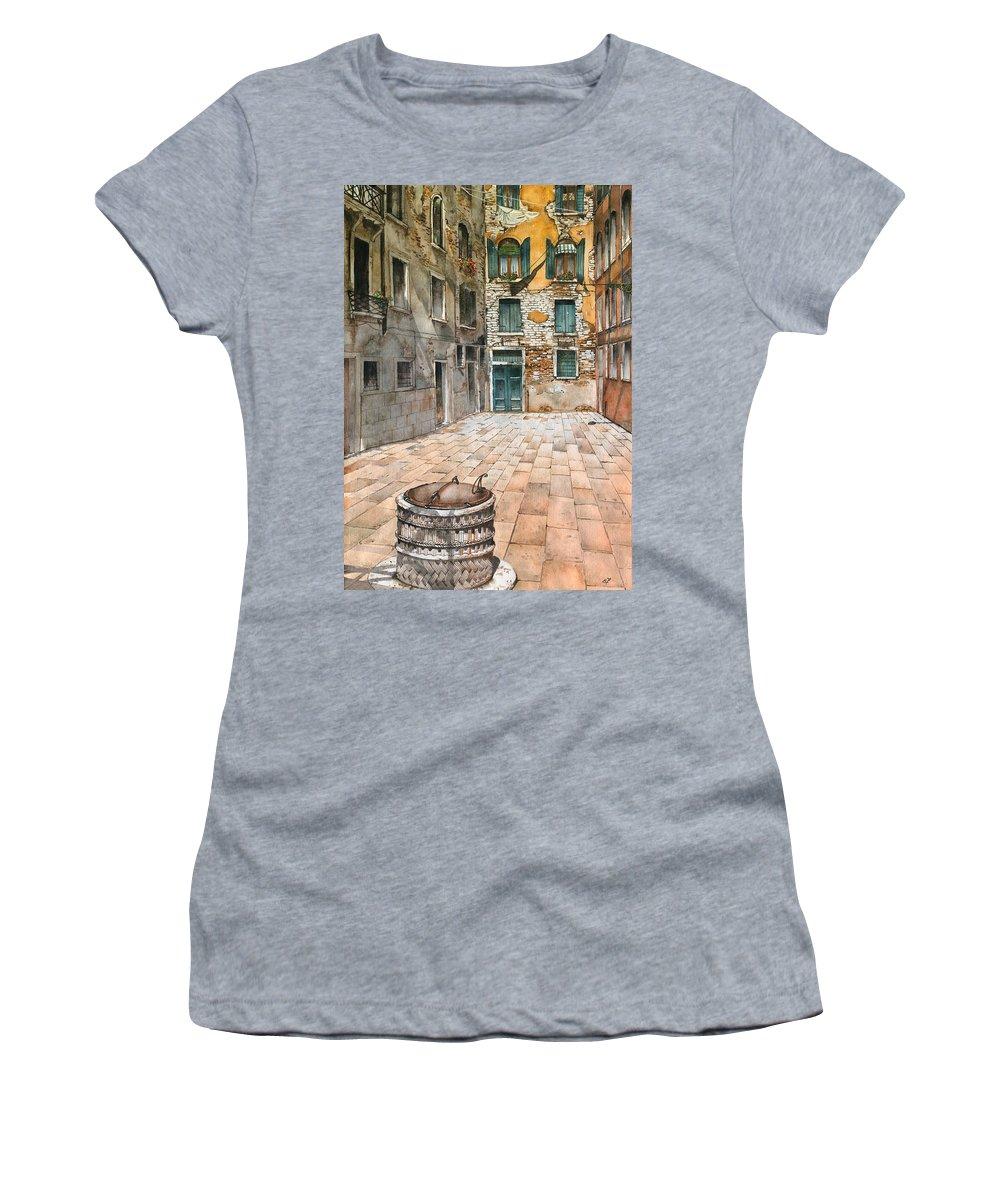 Venice Women's T-Shirt featuring the painting Venetian Courtyard 02 Elena Yakubovich by Elena Yakubovich