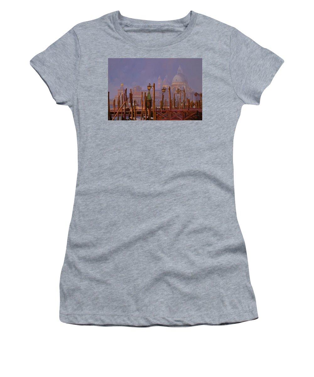 Venice Women's T-Shirt (Athletic Fit) featuring the painting Venezia E La Nebbia by Guido Borelli