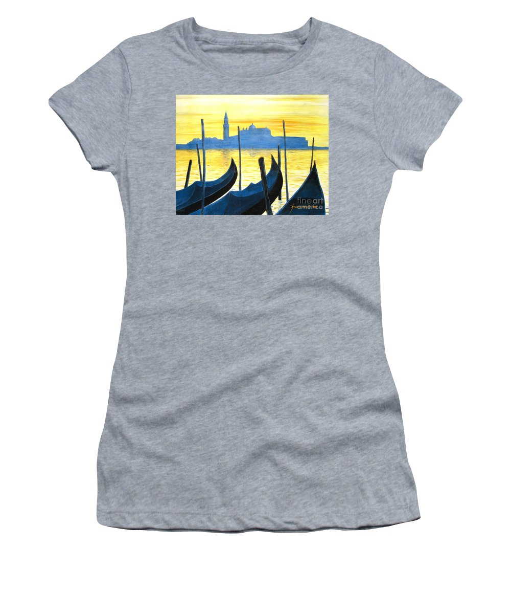 Venice Women's T-Shirt featuring the painting Venezia Venice Italy by Jerome Stumphauzer