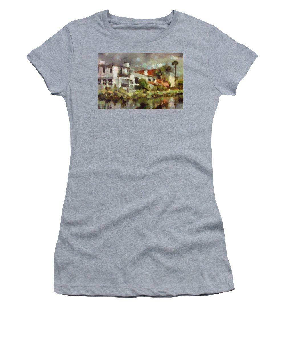 Venice California Women's T-Shirt featuring the painting Venice California 6 by Janice MacLellan