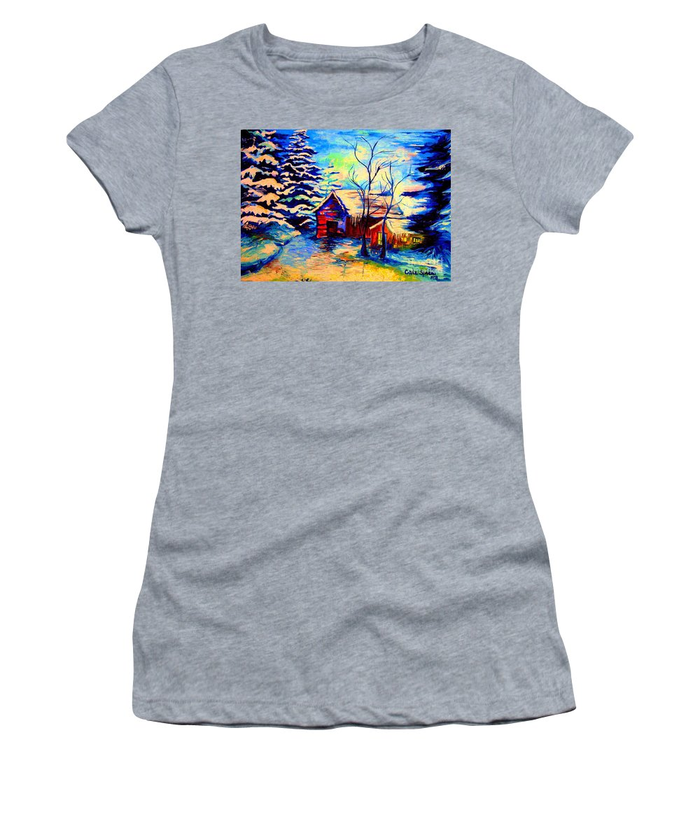 Vermont Winterscenes Women's T-Shirt (Athletic Fit) featuring the painting Vermont Winterscene In Blues By Montreal Streetscene Artist Carole Spandau by Carole Spandau