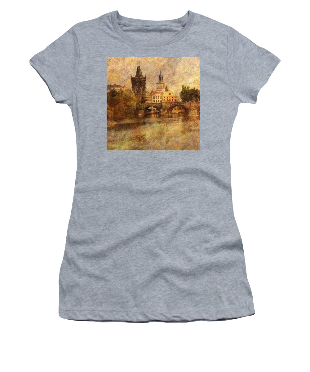 Prague Women's T-Shirt featuring the photograph View Of Prague by Greg Matchick
