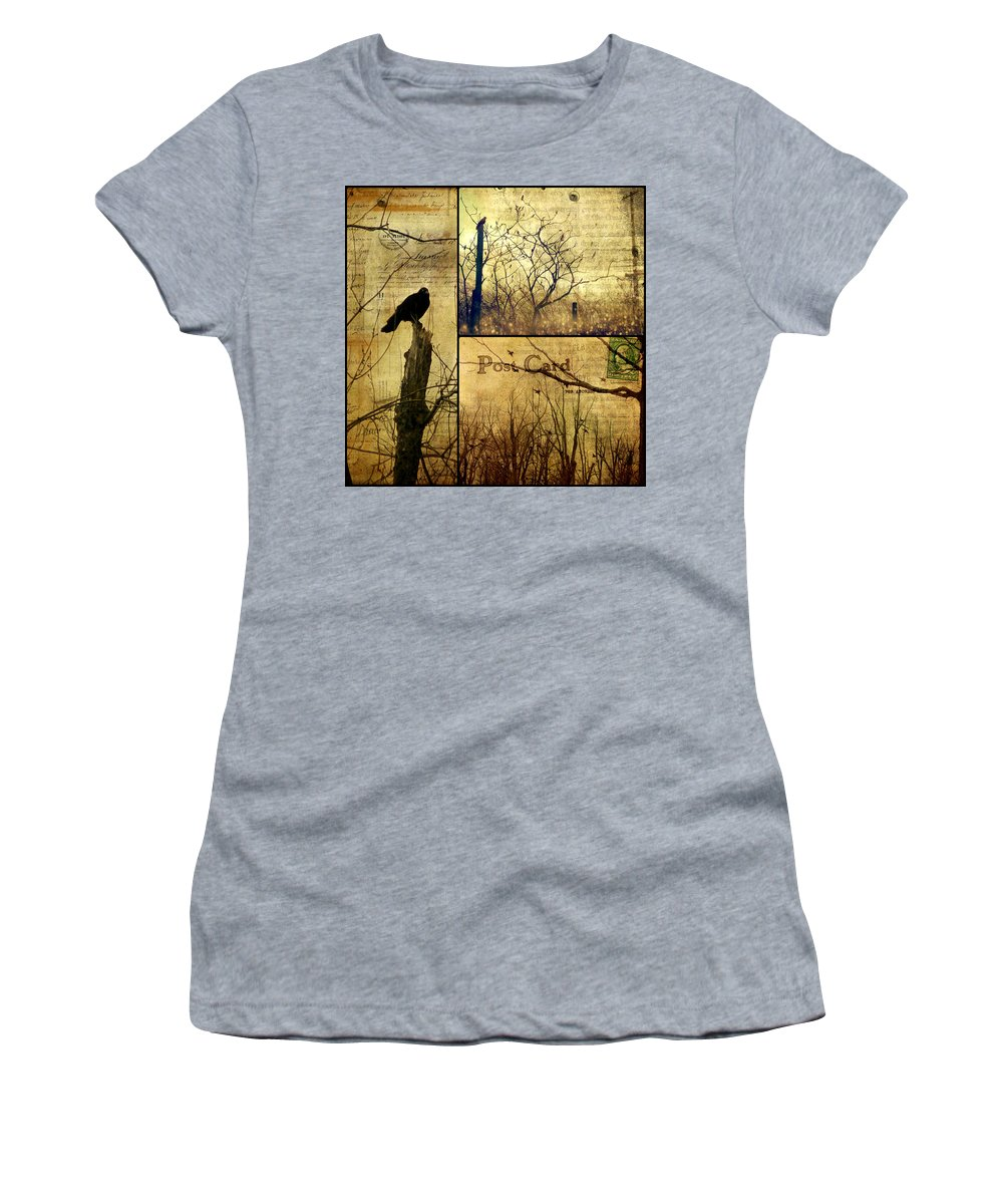 Birds Women's T-Shirt (Athletic Fit) featuring the photograph Vintage Birds Collage by Gothicrow Images