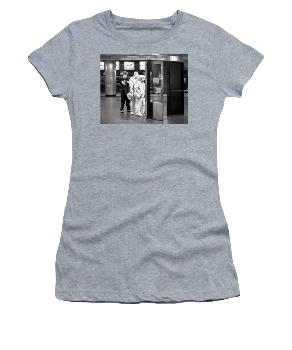 Grand Central Terminal Women's T-Shirt featuring the photograph Waiting In Line At Grand Central Terminal 2 - Black And White by Gary Heller