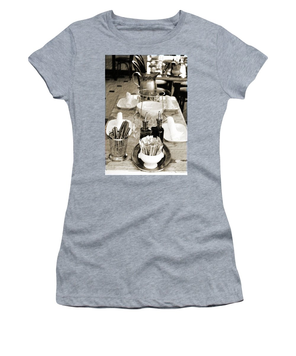 Cafe Women's T-Shirt (Athletic Fit) featuring the photograph Waiting To Entertain by Holly Blunkall