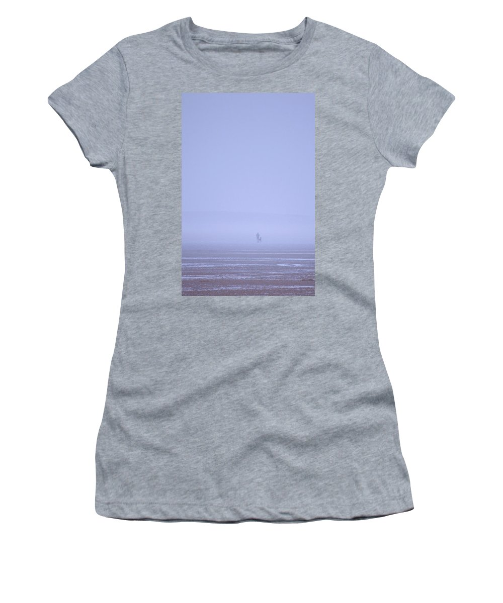Walking Women's T-Shirt (Athletic Fit) featuring the photograph Walking The Dog In The Mist by Spikey Mouse Photography