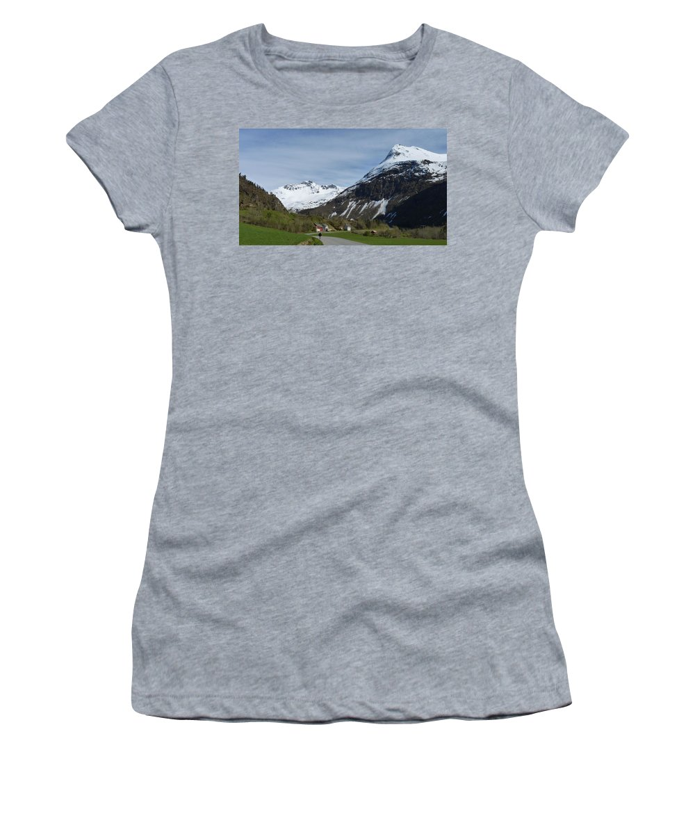 Women's T-Shirt (Athletic Fit) featuring the photograph Walking Toward The Sky by Katerina Naumenko