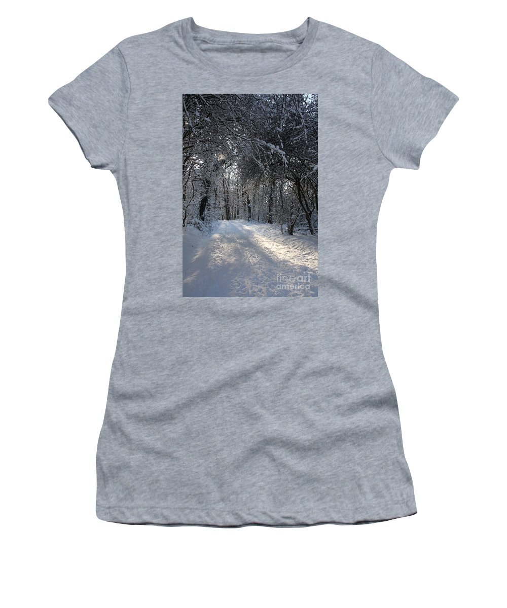 Winter Women's T-Shirt featuring the photograph Walkway In Black And White by Christiane Schulze Art And Photography