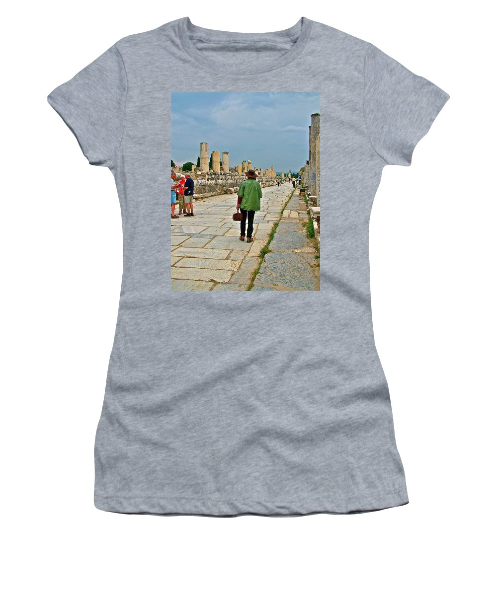Marble Way Walkway To Harbor In Ephesus Women's T-Shirt featuring the photograph Walkway To Harbor In Ephesus-turkey by Ruth Hager