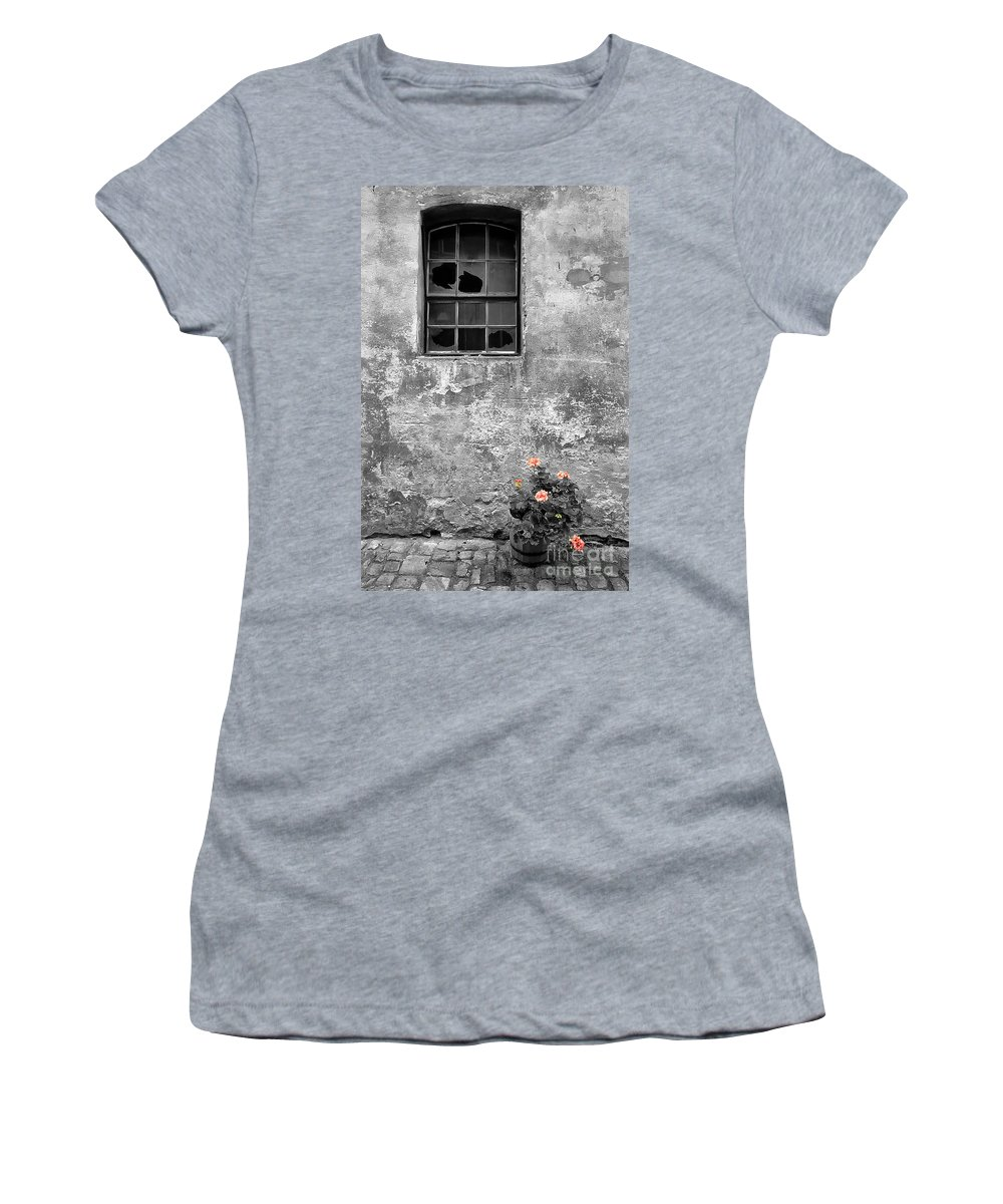Building Women's T-Shirt (Athletic Fit) featuring the photograph Window And Flowers by Mike Nellums
