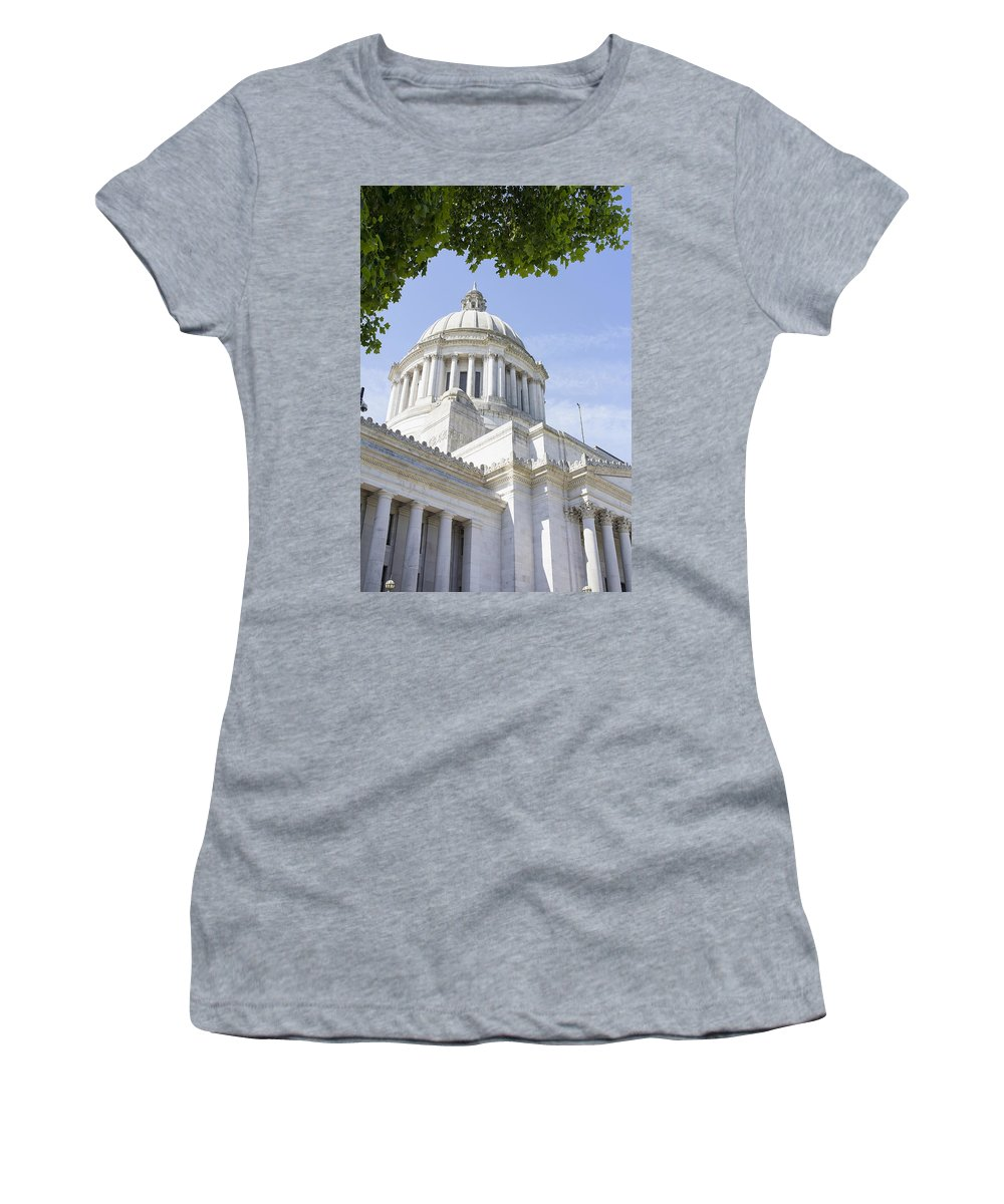 Olympia Women's T-Shirt featuring the photograph Washington State Capitol Building Dome by Jit Lim