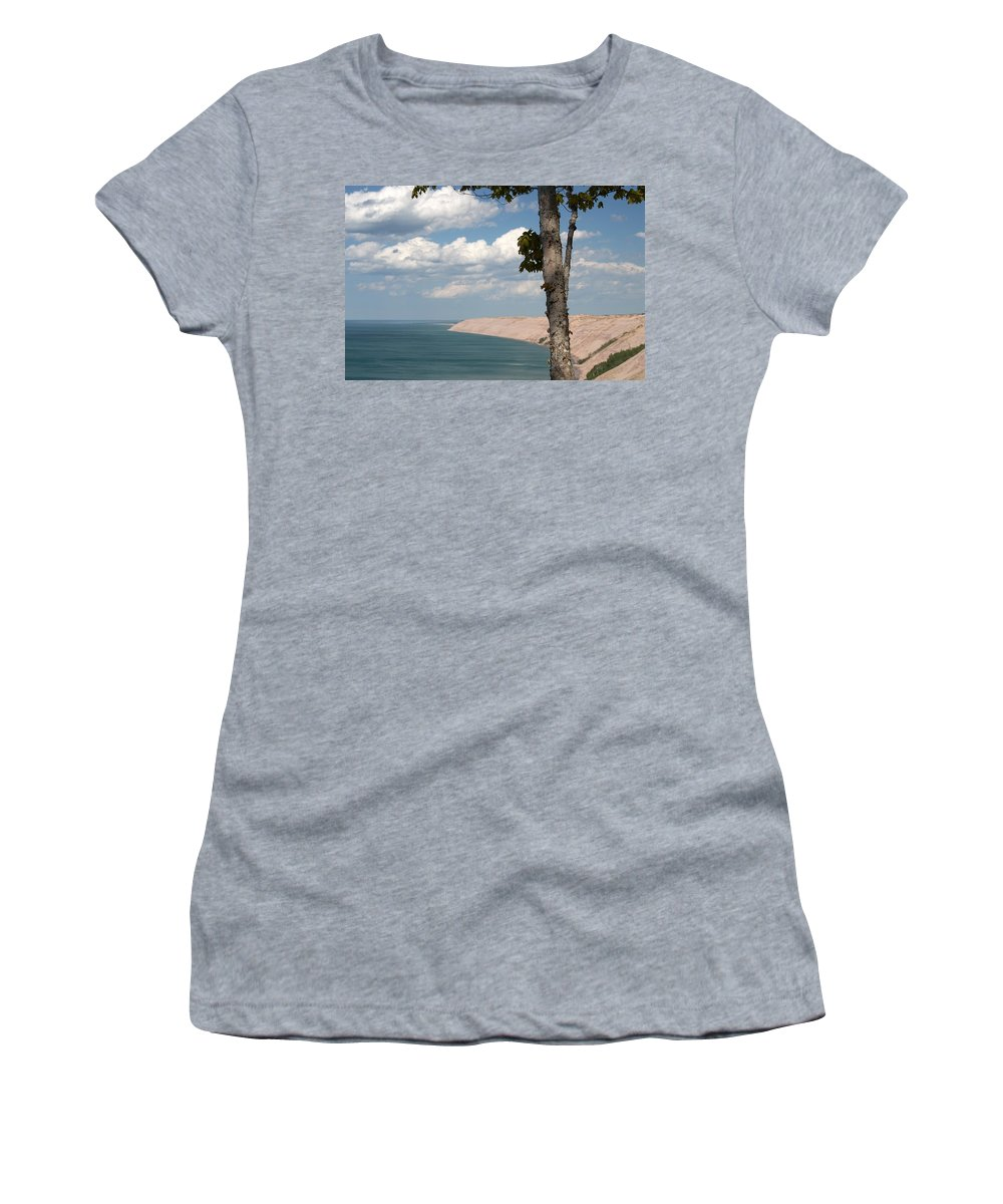 Lake Superior Women's T-Shirt (Athletic Fit) featuring the photograph Water And Sand by Linda Kerkau