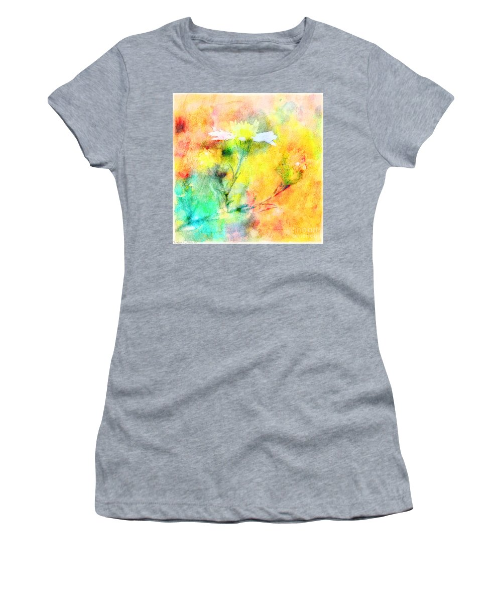Tiny Women's T-Shirt (Athletic Fit) featuring the photograph Watercolor Wildflowers - Digital Paint by Debbie Portwood