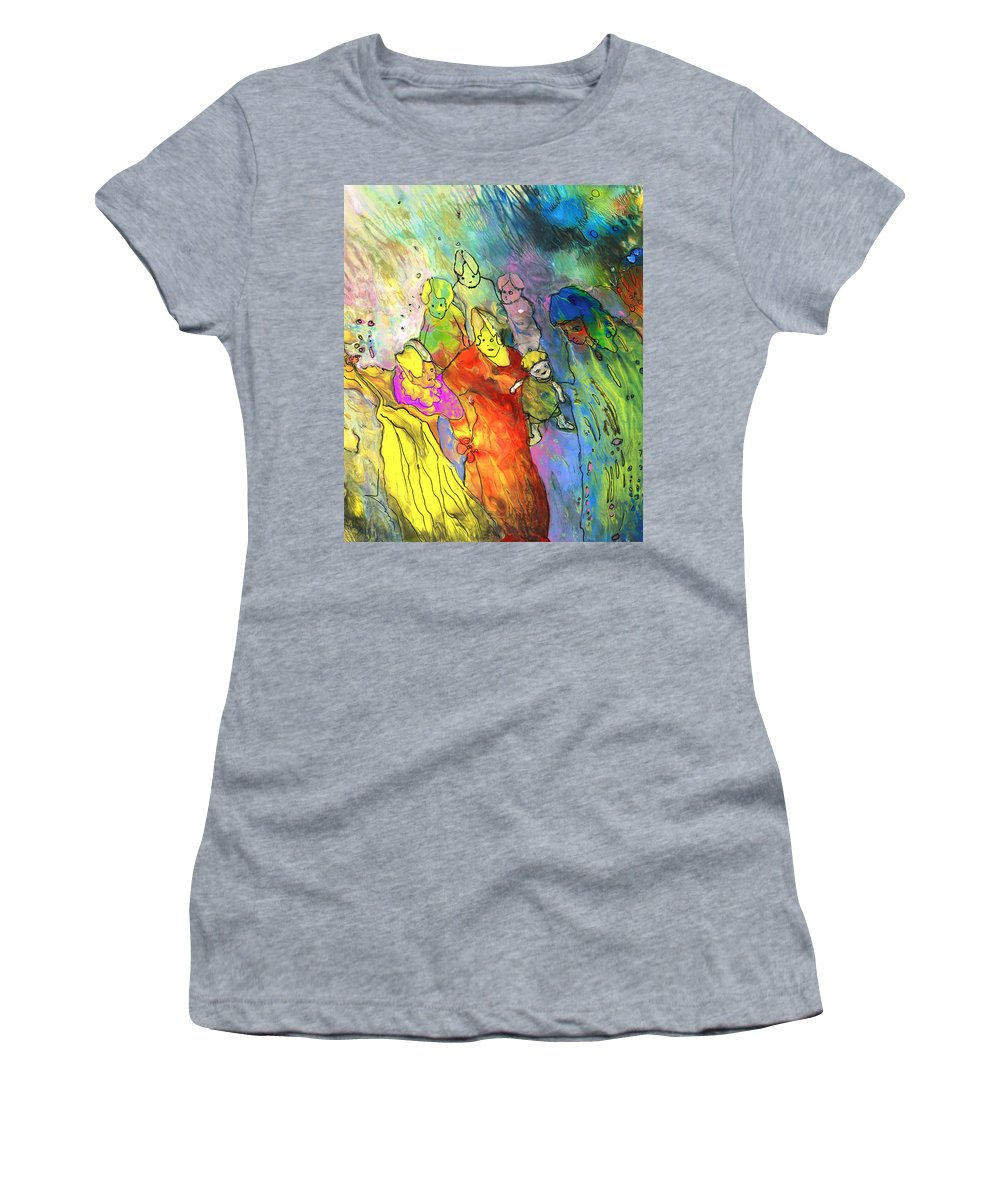 Story Women's T-Shirt featuring the painting We Are Family by Miki De Goodaboom