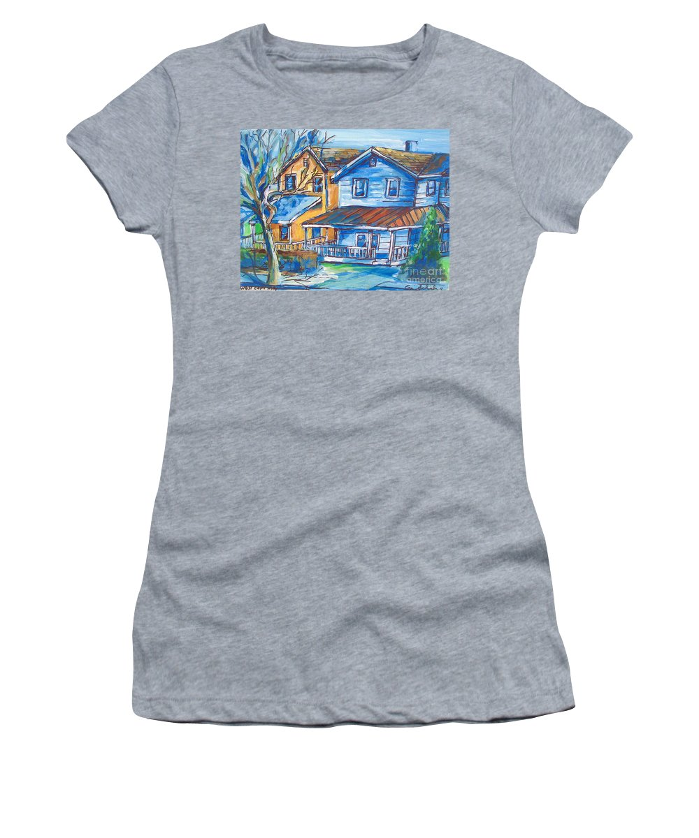 West Cape May Nj Women's T-Shirt (Athletic Fit) featuring the painting West Cape May Nj by Eric Schiabor