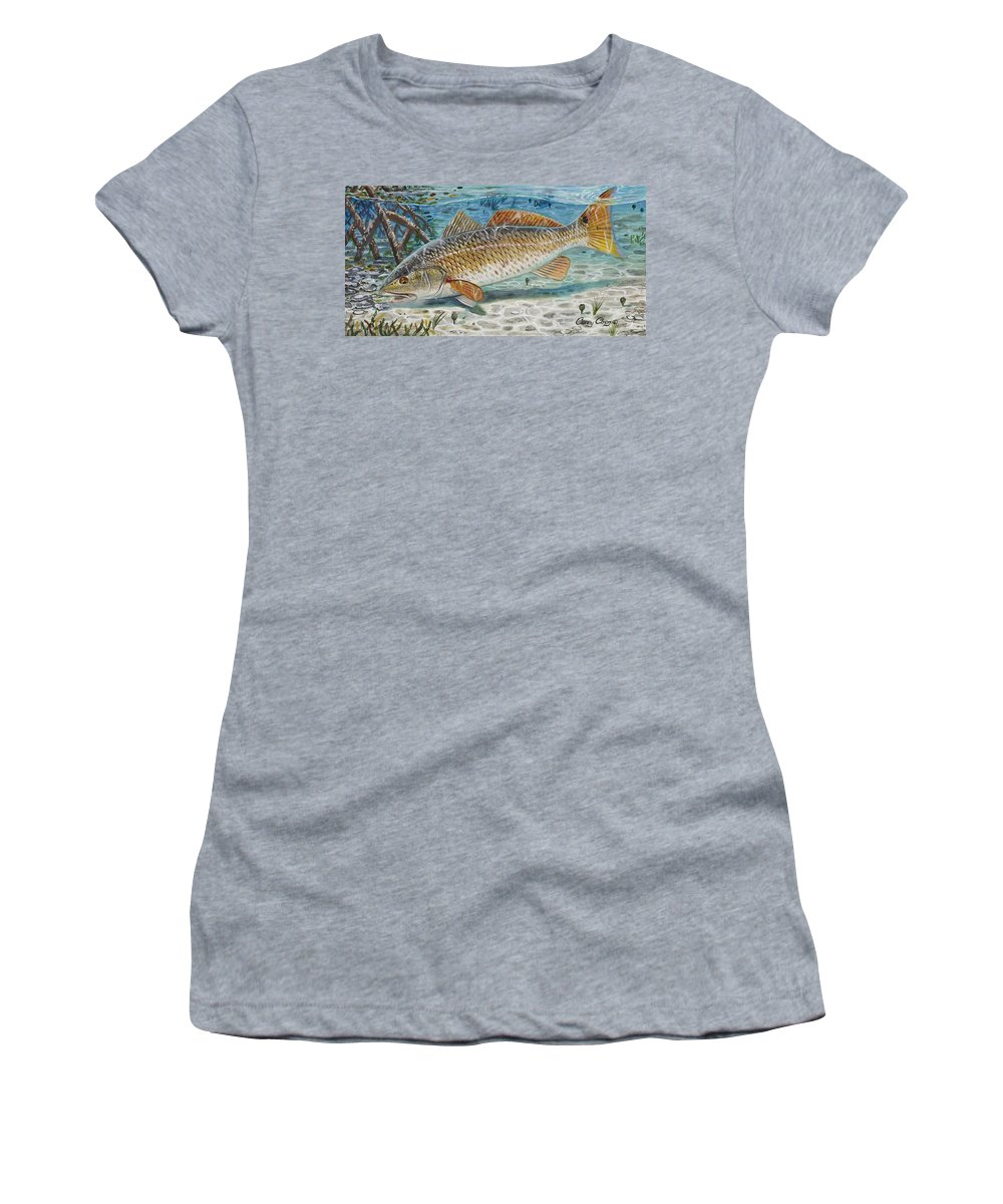 Redfish Women's T-Shirt featuring the painting West Coast Red by Carey Chen