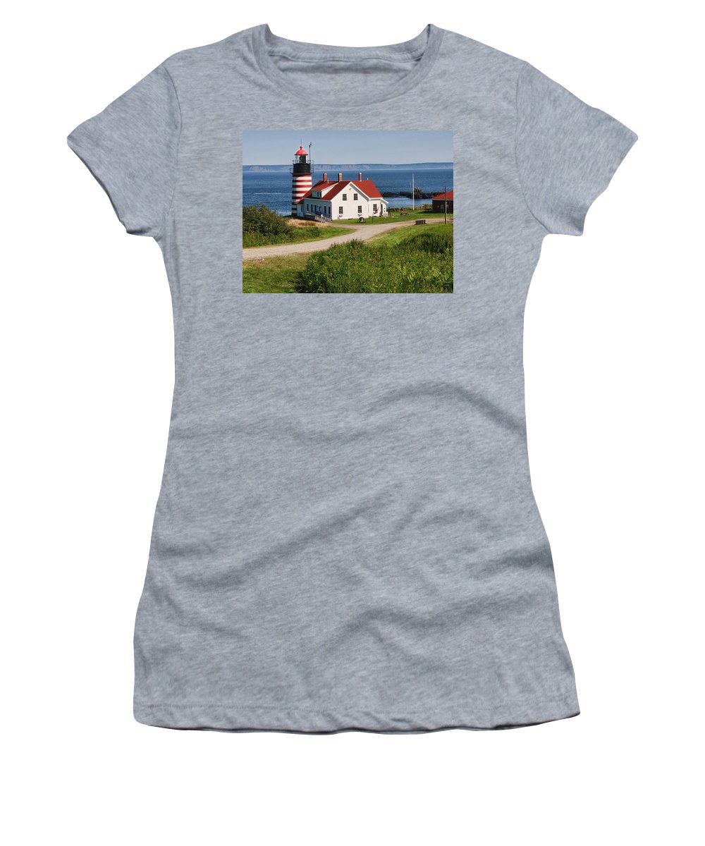 Maine Lighthouse Photographs Women's T-Shirt featuring the photograph West Quaddy Lighthouse by Phyllis Taylor