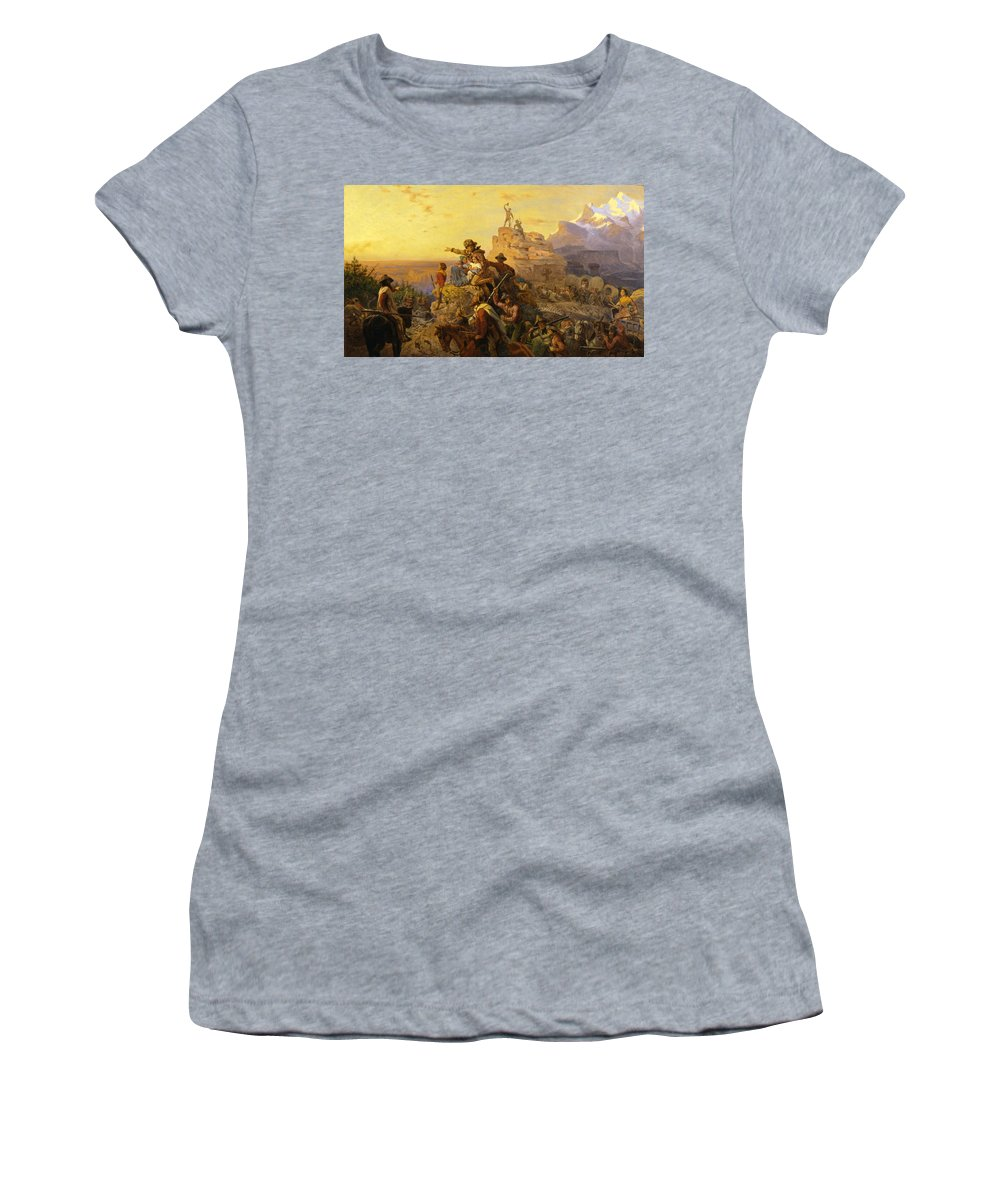 Westward Ho! Women's T-Shirt featuring the digital art Westward Ho by Emanuel Leutze